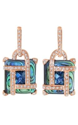 Bellarri Anastasia 14K Rose Gold Diamond, Abalone, & Blue Topaz Earrings, Style ER2211PG14ABLB product image