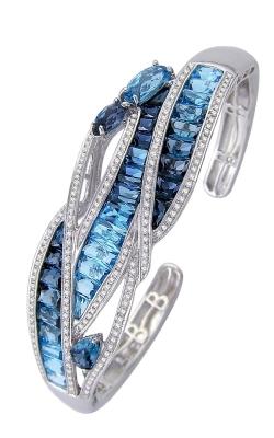 Bellarri Capri 14K White Gold Diamond & Blue Topaz Bangle, Style B951W14BT product image