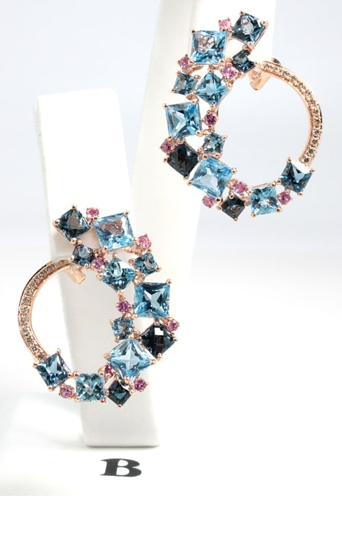 Lily 14K Diamond, Topaz, & Sapphire Earrings product image