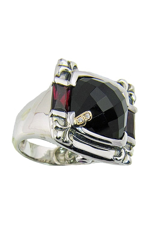 Silver Diamond, Onyx, & Rhodolite Ring product image