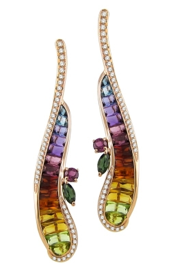 Bellarri Capri 14K Rose Gold Diamond & Multi-Color Earrings, Style ER2260PG14M product image