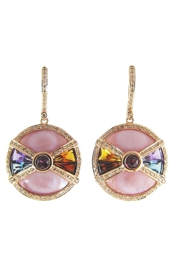 Circle of Love 14K Rose Diamond, Pink Mother-of-Pearl, & Multi-Color Hoop Earrings, Style ER2200PG14P product image