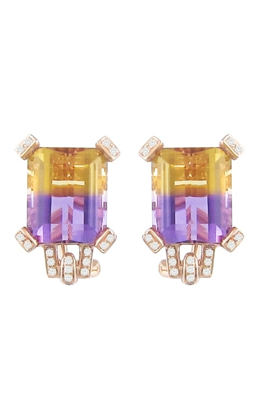 Fantasia 14K Rose Gold Diamond & Ametrine Earrings product image