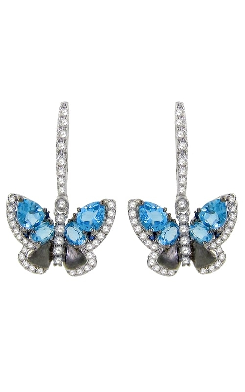 Vision Butterfly 14K White Gold Diamond & Blue Topaz Earrings product image