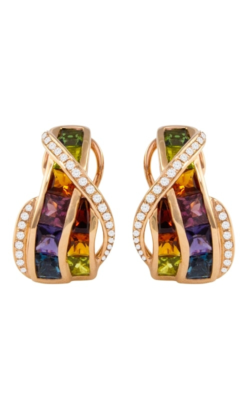 Capri 14K Rose Gold Diamond & Multicolor Earrings product image
