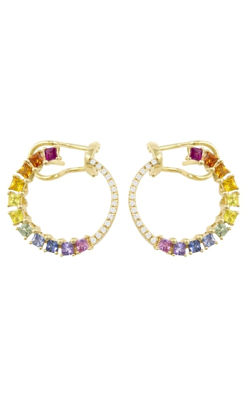 Princessa 14K Yellow Gold Diamond & Multicolor Sapphire Earrings product image