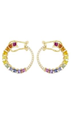 Princessa 14K Yellow Gold Diamond & Multicolor Sapphire Earrings ER2395YG14M product image