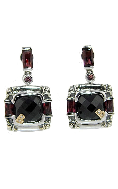 Silver & 18K Diamond, Black Onyx, & Rhodolite Earrings product image