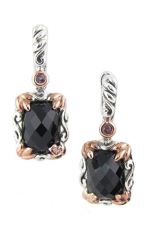 Silver Two-Tone Diamond, Black Onyx & Rhodolite Earrings product image