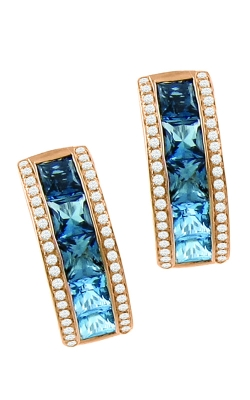 Bellarri Eternal Love Diamond & Blue Topaz Earrings, 14K Rose Gold Style ER2255PG14BT product image