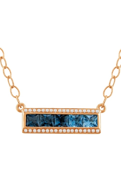 Eternal Love 14K Rose Gold Diamond & Blue Topaz Pendant product image