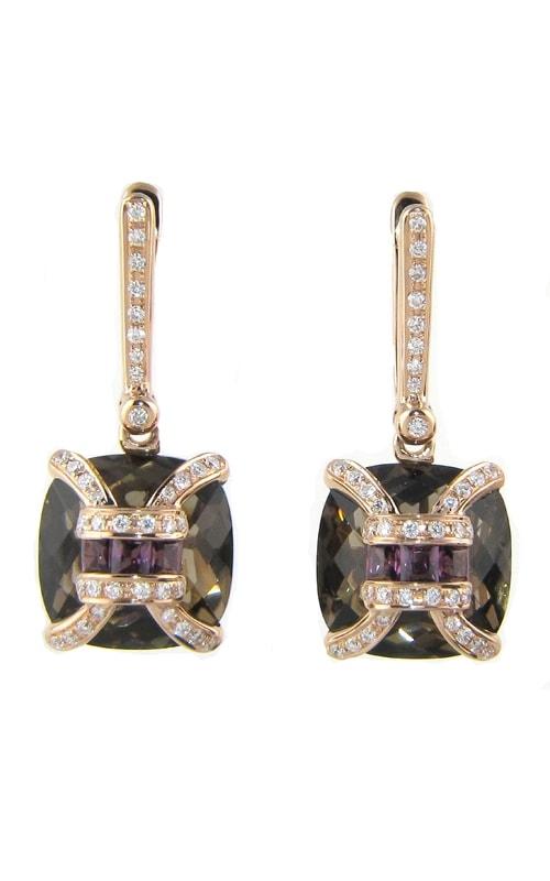 Genevieve 18K Diamond, Smokey Quartz, & Rhodolite Earrings product image