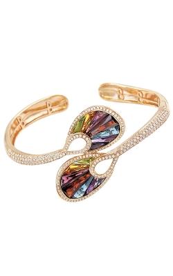 14K Rose Gold Diamond & Multi-Color Gemstone Bangle Bracelet, Style B889PG14M product image