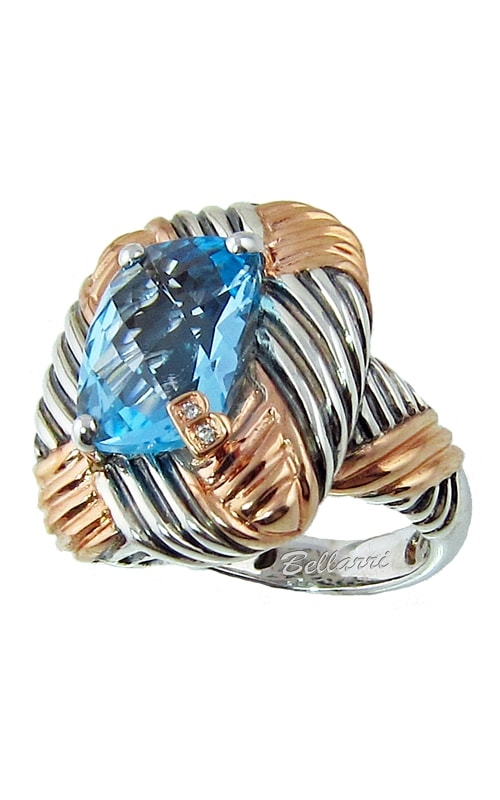 Silver Two-Tone Diamond & Blue Topaz Ring product image