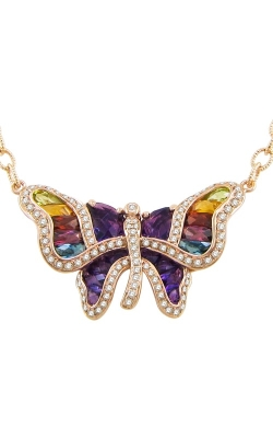Bellarri Madame Butterfly 14K Rose Gold Diamond & Multi-Color Necklace, Style P2149PG14M product image