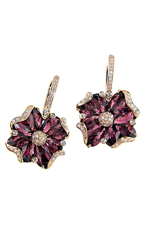 Mademoiselle 14K Diamond & Rhodolite Earrings product image