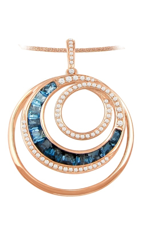 Malibu 14K Diamond & Blue Topaz Circle Pendant product image
