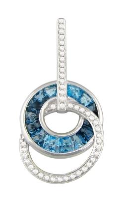 Bellarri Malibu 14K White Gold Diamond & Blue Topaz Pendant, Style G1400W14BT product image
