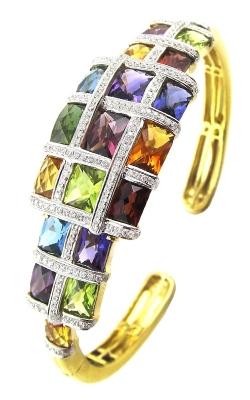 Bellarri Mosaic 18K Yellow Gold Diamond & Multi-Color Bangle, Style B895M product image