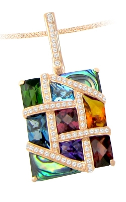 Bellarri Mosaic Nouveau 14K Rose Gold Diamond, Abalone, Multi-Color Pendant, Style G1341PG14MA product image