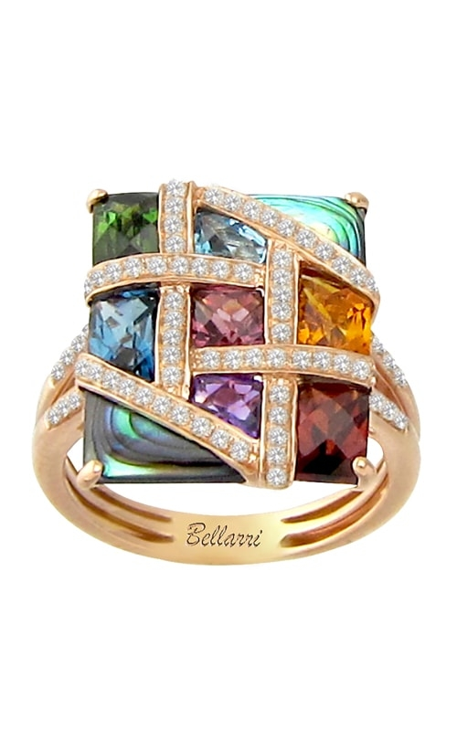 Mosaic Nouveau 14K Diamond & Multi-Color Ring product image
