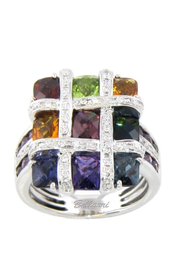 Bellarri Mosaic 18K White Gold Diamond & Multi-Color Ring, Style# R6929WM product image