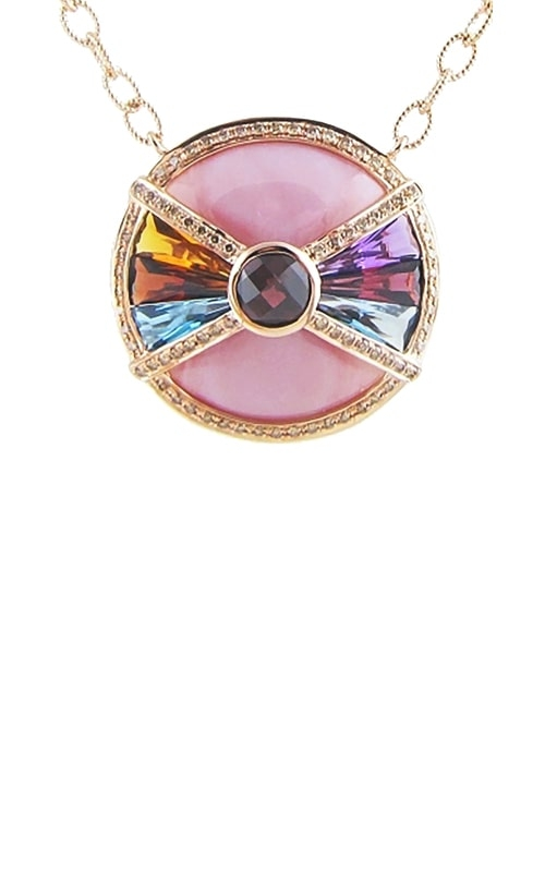 14K Rose Diamond, Pink Mother-of-Pearl, & Multicolor Pendant product image
