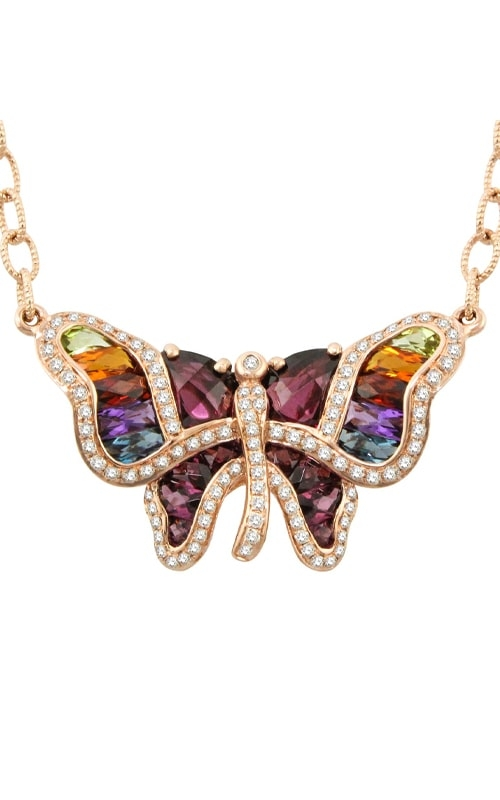 Madame Butterfly 14K Rose Gold Diamond & Multi-Color Necklace product image