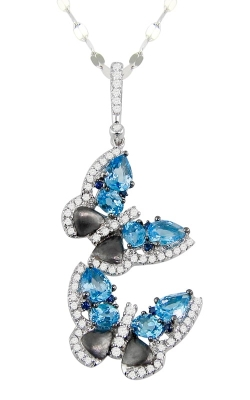 Vision Butterfly 14K White Gold Diamond & Blue Topaz Necklace, Style P2267W14BT product image