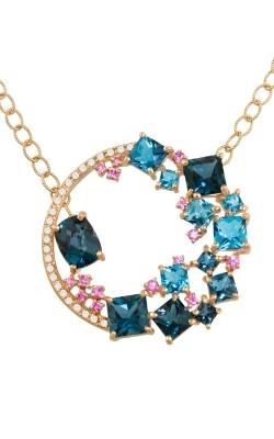 Lily 14K Rose Gold Diamond, Blue Topaz, & Pink Sapphire Necklace, Style P2271PG14BTPS product image