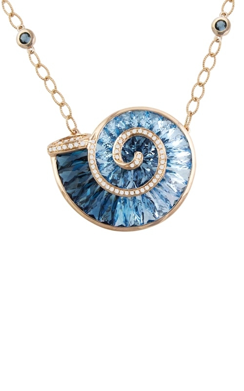 Cove 14K Rose Gold Diamond & Blue Topaz Necklace product image