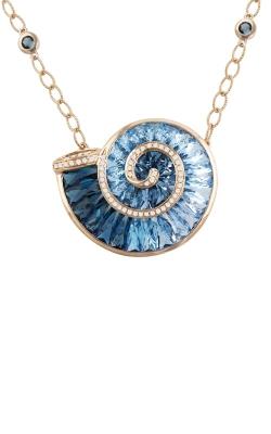 Cove 14K Rose Gold Diamond & Blue Topaz Necklace, Style P2306PG14BT product image
