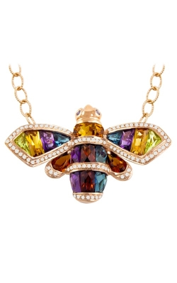Queen Bee 14K Rose Gold Diamond & Multicolor Bee Necklace, Style P2329PG14CM product image