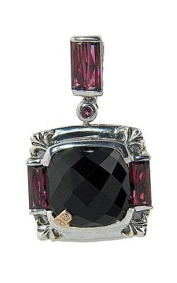 Bellarri Silver Diamond, Black Onyx, & Rhodolite Pendant, Style# PS149BORH product image