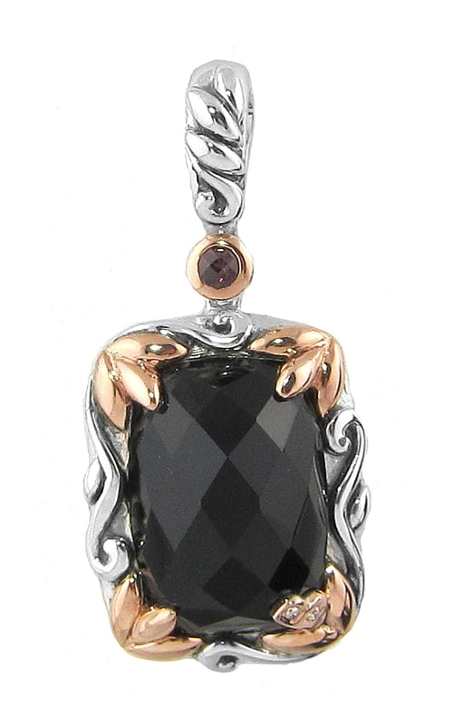 Silver Two-Tone Diamond, Black Onyx, & Rhodolite Pendant product image