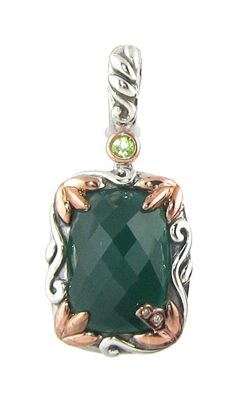 Silver Two-Tone Diamond, Green Onyx, & Peridot Pendant product image