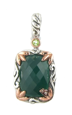 Bellarri Silver Two-Tone Diamond, Green Onyx, & Peridot Pendant, Style# PS157TTGO product image