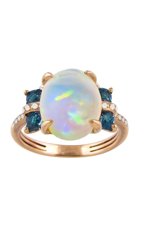 Athena 14K Rose Gold Diamond, Blue Topaz, & Opal Ring product image