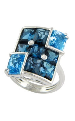 Fresco 14K White Gold Diamond & Blue Topaz Ring, Style R9473W14BT product image