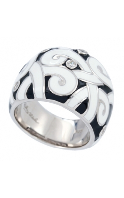 Belle Etoile Denouement Black and White Italian Enamel Ring product image