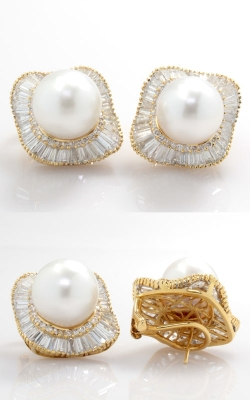 18K Yellow Gold Diamond & South Sea Pearl Earrings CLOSE03105 product image