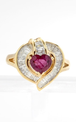 18K Yellow Gold Heart Shaped Ruby & Diamond Ring, CLOSE03169 product image