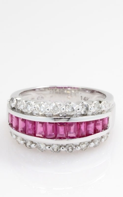 14K White Gold Diamond & Ruby Band, CLOSE03178 product image