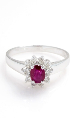 14K White Gold Oval Ruby & Diamond Ring CLOSE03221 product image