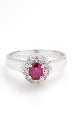 14K White Gold Oval Ruby & Diamond Ring CLOSE03445 product image
