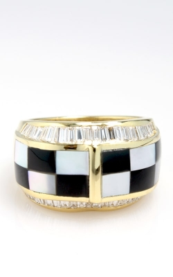 18K Yellow Gold Diamond, Onyx, & Mother of Pearl Ring product image