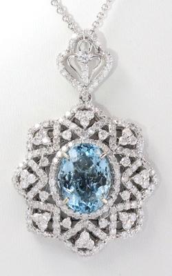 14K White Gold Diamond & Oval Aqua Pendant DPSP09010 product image