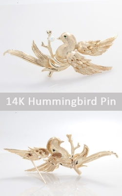 14K Yellow Gold Hummingbird Pin, JPIN00356 product image