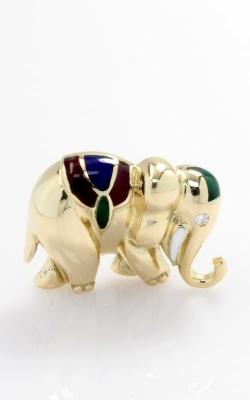 18K Yellow Gold & Enamel Elephant Pin, JPIN00364 product image