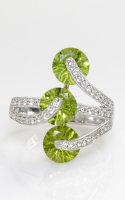 Yael Designs 18K White Gold, Diamond & Peridot Ring, DRSP09573-2 product image